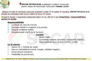 Lucrator comercial PECO SOCAR Tunari, Sos. Centura